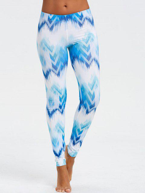 Ombre Print Fitted Chevron Leggings - BLUE XL