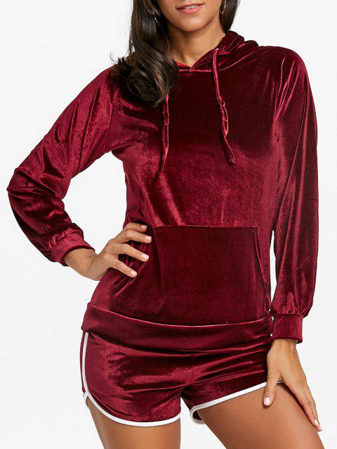 Drawstring Velvet Hoodie and Dolphin Shorts - WINE RED S