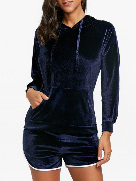 Drawstring Velvet Hoodie and Dolphin Shorts - BLUE S