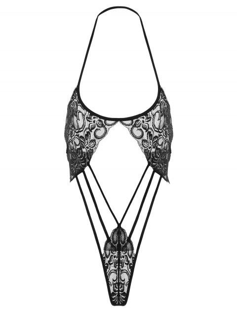 Halter Strappy Thong Teddy - BLACK ONE SIZE