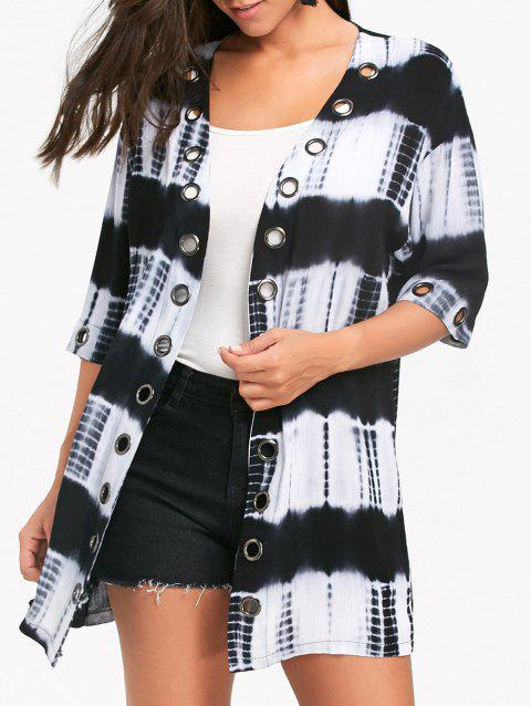 Metal Grommet Insert Tie Dyed Printed Shirt Cardigan - COLORMIX XL