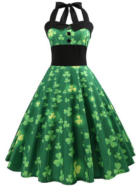 Vintage Pin Up Halter Smocked Party Dress - GREEN L