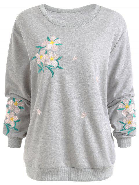Plus Size Floral Embellished Sweatshirt - GRAY 2XL