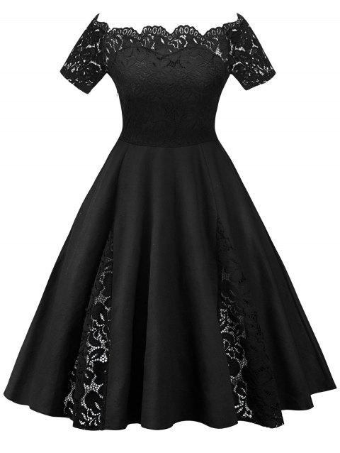 Plus Size Off Shoulder Lace Panel Dress - BLACK 4XL