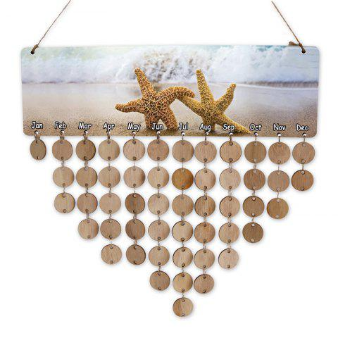 Wooden Starfish Hanging DIY Calendar Reminder Board - WOOD