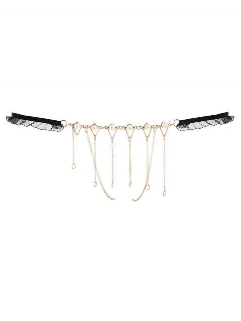 Faux Pearl Chains Lingerie T-back - BLACK ONE SIZE