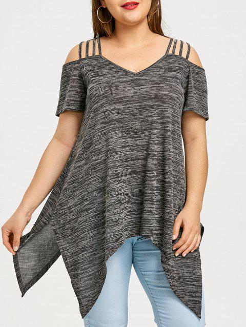 fd211a8c LIMITED OFFER] 2019 Plus Size Open Shoulder Handkerchief T-shirt In ...