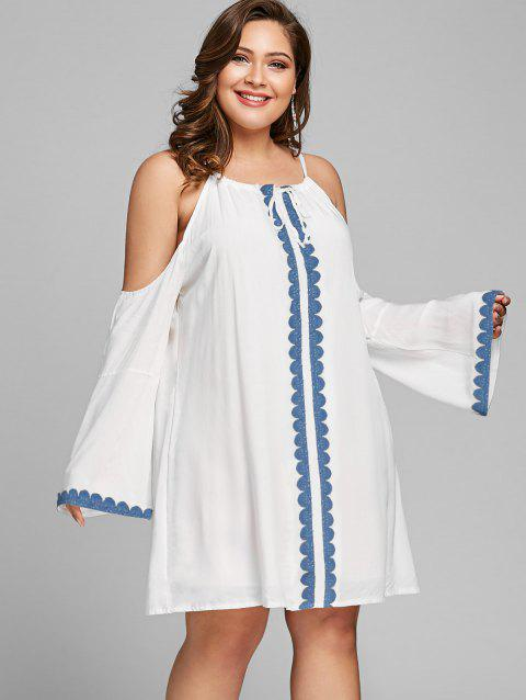 Plus Size Cold Shoulder Dress - WHITE XL