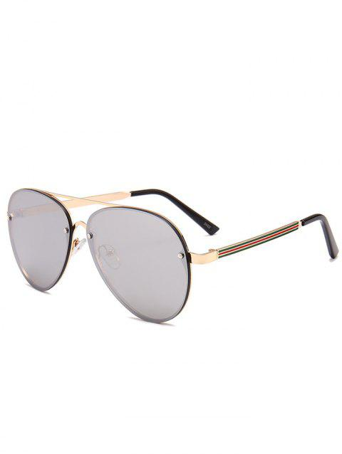 4c378c3bd40 UV Protection Metal Bar Embellished Pilot Sunglasses - GOLD FRAME   SILVER  LENS