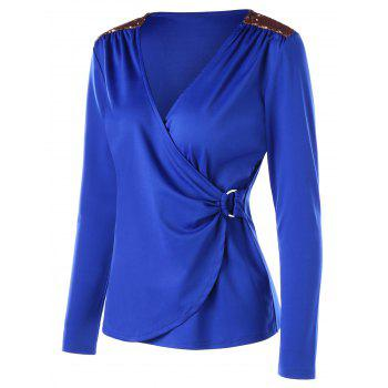 Long Sleeve Sequins Embellished Surplice T-shirt - BLUE 2XL