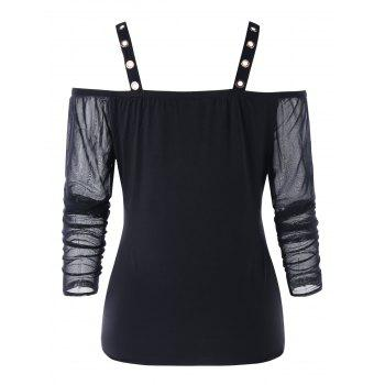 Long Sleeve Cold Shoulder Mesh Overlay T-shirt - BLACK 2XL