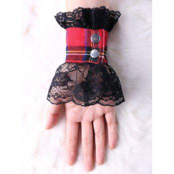 Lace Panel Plaid Fingerless Gloves - BLACK BLACK