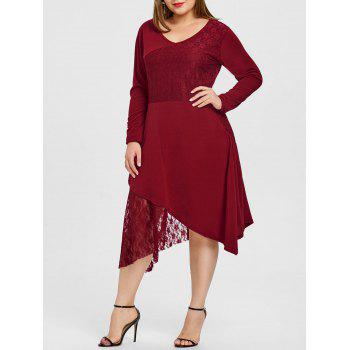 Plus Size Maxi Lace Trim Dress - RED 5XL