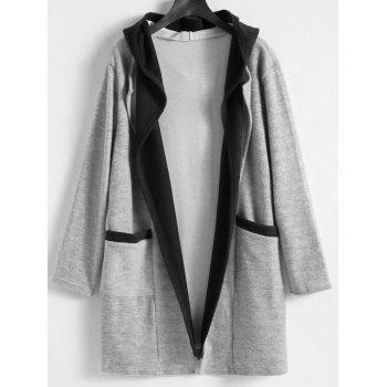 Faux Twinset Plus Size Long Hooded Coat - GRAY GRAY