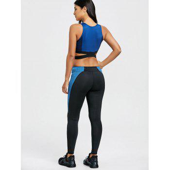 Color Block Criss Cross Three Piece Gym Outfits - BLUE BLUE