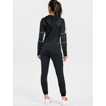 High Waisted Color Block Three Piece Gym Outfits - BLACK M