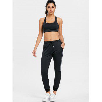 High Waisted Color Block Three Piece Gym Outfits - BLACK BLACK