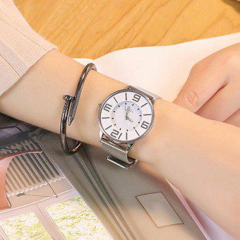 Alloy Mesh Strap Number Watch - SILVER
