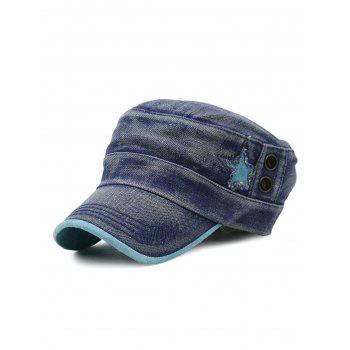 Outdoor Star Pattern Decorated Washed Military Cap - BLUE BLUE