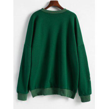 Floral Embroidered Plus Size Fleece Lined  Sweatshirt - GREEN XL