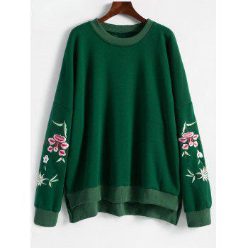 Floral Embroidered Plus Size Fleece Lined  Sweatshirt - GREEN GREEN