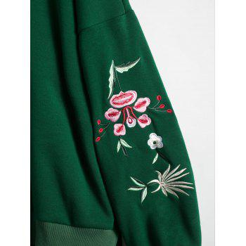 Floral Embroidered Plus Size Fleece Lined  Sweatshirt - GREEN 3XL