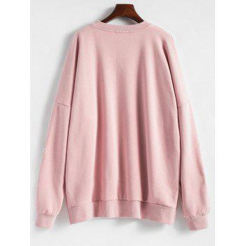 Floral Embroidered Plus Size Fleece Lined  Sweatshirt - PINK 3XL