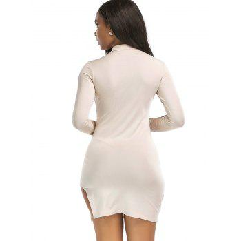 High Neck Slit Mini Bodycon Dress - LIGHT KHAKI M