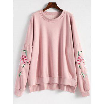 Floral Embroidered Plus Size Fleece Lined  Sweatshirt - PINK PINK