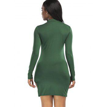 High Neck Slit Mini Bodycon Dress - GREEN 2XL