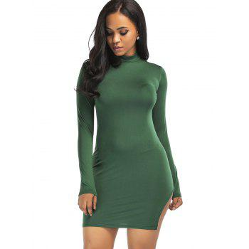 High Neck Slit Mini Bodycon Dress - GREEN XL