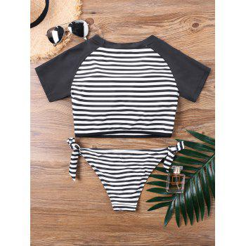 Palm Striped Tie Side Tankini Set - BLACK L