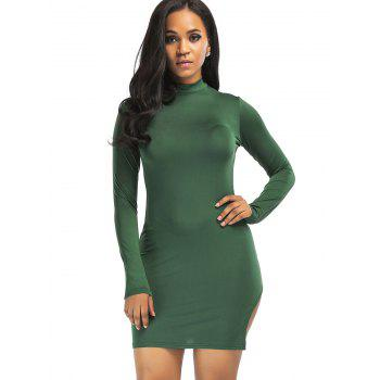 High Neck Slit Mini Bodycon Dress - GREEN L