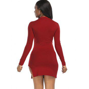 High Neck Slit Mini Bodycon Dress - WINE RED XL