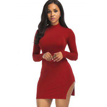High Neck Slit Mini Bodycon Dress - WINE RED S