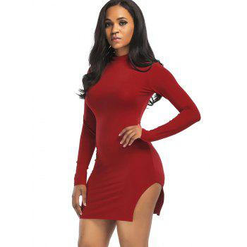 High Neck Slit Mini Bodycon Dress - WINE RED WINE RED