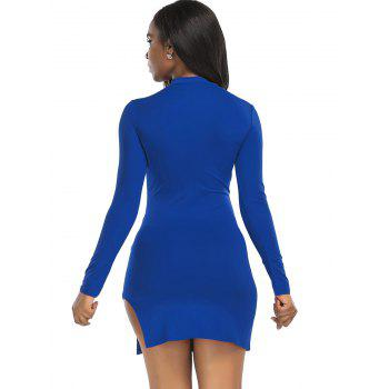 High Neck Slit Mini Bodycon Dress - BLUE L