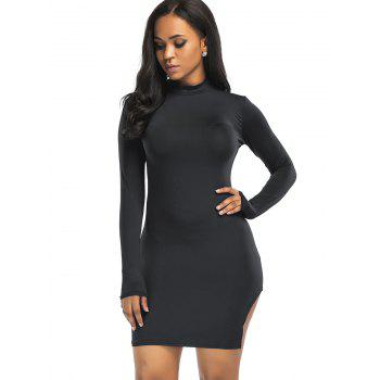 High Neck Slit Mini Bodycon Dress - BLACK BLACK