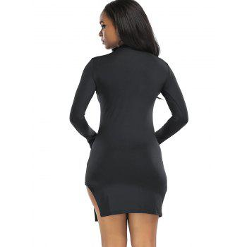 High Neck Slit Mini Bodycon Dress - BLACK L