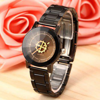 Steel Strap Rhinestone Gear Face Watch - GUN METAL GUN METAL