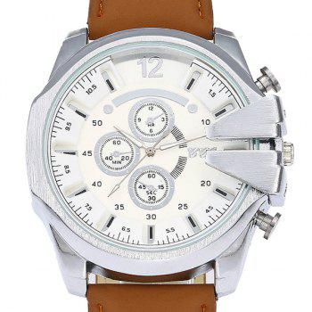 Big Dial Faux Leather Watch - LIGHT COFFEE