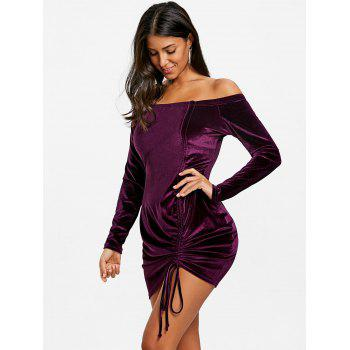 Off Shoulder Velvet Ruched Dress - PURPLE L