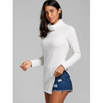 Cowl Neck Side Tunic Slit Sweater - OFF WHITE XL