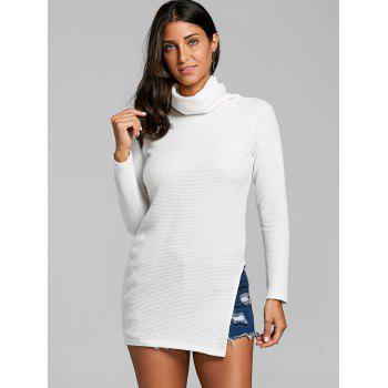 Cowl Neck Side Tunic Slit Sweater - OFF WHITE M