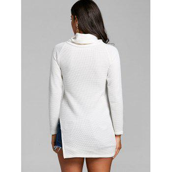 Cowl Neck Side Tunic Slit Sweater - OFF WHITE OFF WHITE
