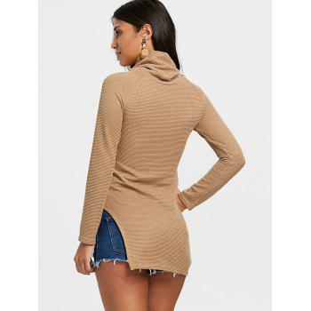 Cowl Neck Side Tunic Slit Sweater - KHAKI KHAKI