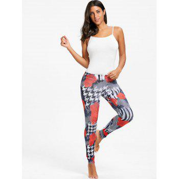 Houndstooth Rose Floral Leggings - BLACK BLACK