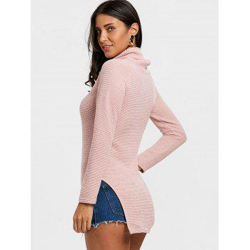 Cowl Neck Side Tunic Slit Sweater - SHALLOW PINK L