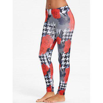 Houndstooth Rose Floral Leggings - BLACK M