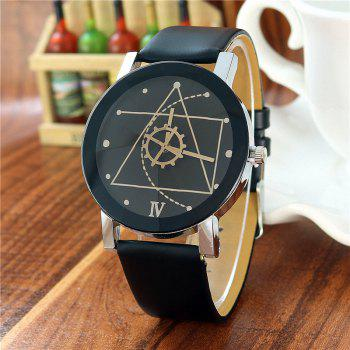 Geometric Face Steel Strap Watch - BLACK FOR MEN